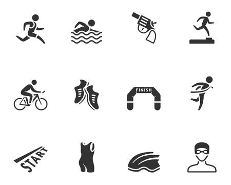 atleta corriendo: Triatl�n de la serie del icono en un solo color