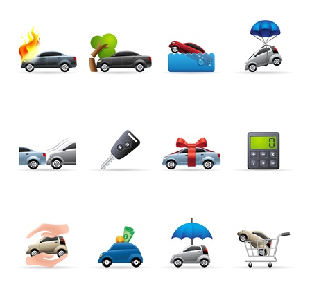 Car insurance icons in colors