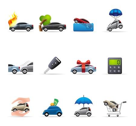 Ikony ubezpieczenia samochodowe w kolorach