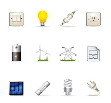 wall plug: Electricity icons in colors