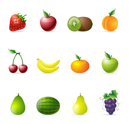 avocados: Fresh fruit icons in colors