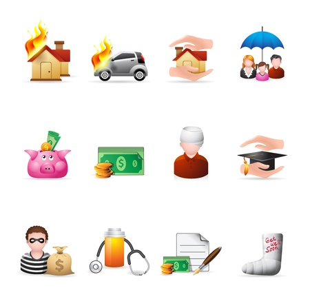 Insurance  icons in colors