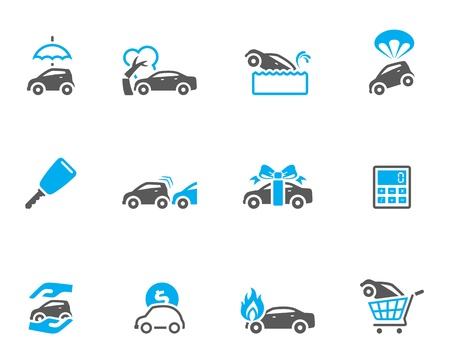 seguros autos: Iconos de seguros de autom�viles en colores de tono d�o