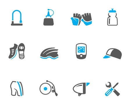 duo: Bicycle accessories icons series  in duo tone colors