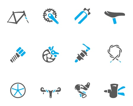 rear wheel: Bicycle part icons series  in duo tone colors