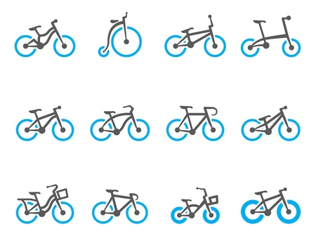 Bicycle type icons in duo tone colors 矢量图像