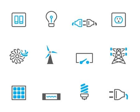Icone di energia elettrica a colori tono duo