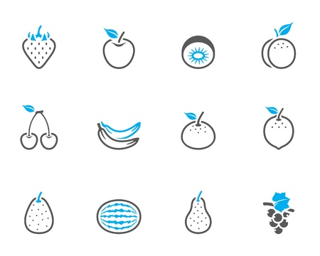 Fresh fruit icons in duo tone colors Stock Vector - 19605562