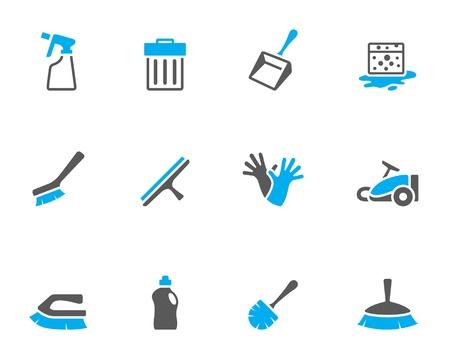 clean home: Reinigen gereedschap pictogram serie in duo tone kleuren Stock Illustratie