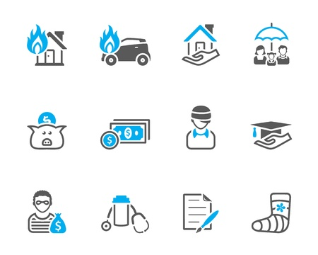 ubezpieczenia: Ikony ubezpieczeniowe w tonie duet Ilustracja