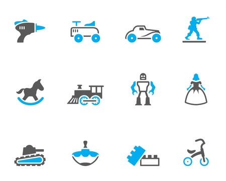 rocking horse: Vintage toy icons in duo tone colors Illustration