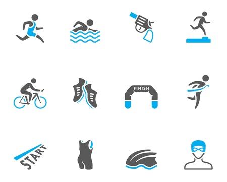 Triathlon icon series  in duo tone colors  Vettoriali