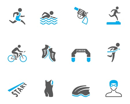 swim race: Triatl�n serie icono en colores de tono d�o