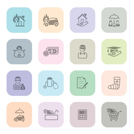 savings risk: Insurance icon series in light colors Illustration