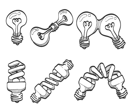 Lightbulb and spiral bulbs sketches Stock Vector - 19605539