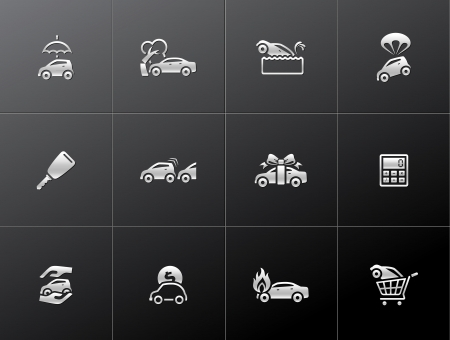 gift accident: Car insurance icons in metallic style