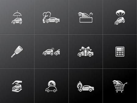 seguros autos: Iconos de seguros de autom�viles en estilo met�lico Vectores