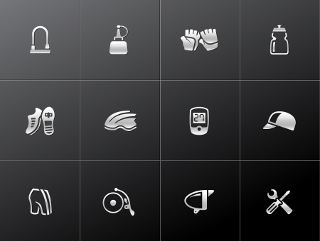 Bicycle accessories icons series  in metallic style Stock Vector - 19605616