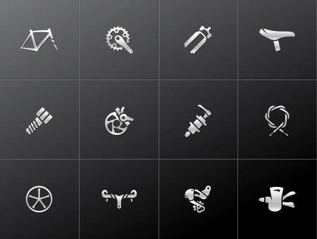 sprocket: Bicicletta parte serie di icone in stile metallico