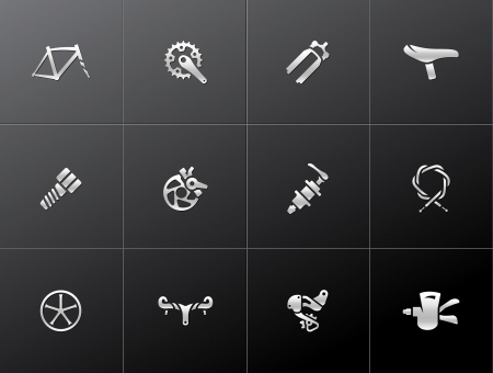Bicycle part icons series  in metallic style