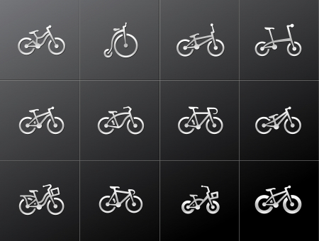 Bicycle type icons in metallic style Vector