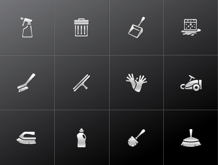dust pan: Cleaning tool icon series  in metallic style Illustration