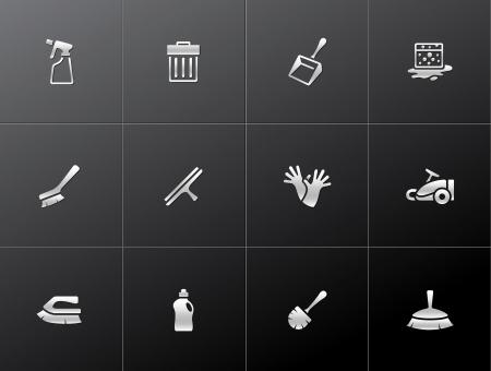 cleaning equipment: Strumento di pulizia serie icona in stile metallico Vettoriali
