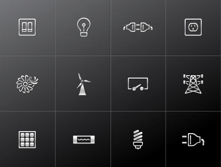 осветительное оборудование: Иконки на электроэнергию в металлических стилей