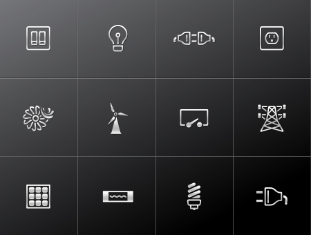 Electricity icons in metallic styles Vector