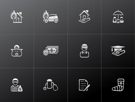 金属スタイルの保険のアイコン  イラスト・ベクター素材