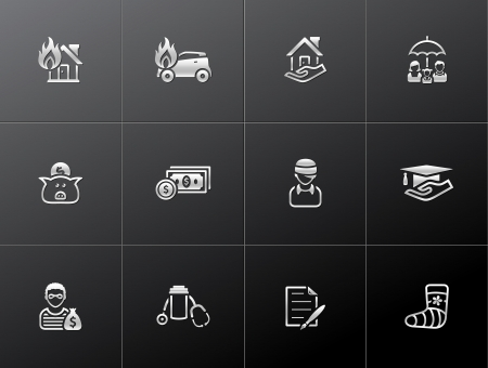 Insurance  icons in metallic style