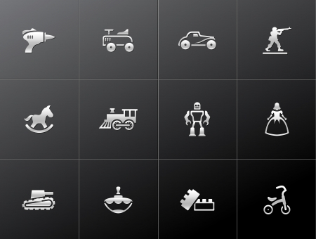 Vintage toy icons in metallic style Vector