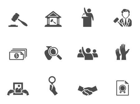 Ikony aukcji w czarnych białych EPS 10 Ilustracje wektorowe