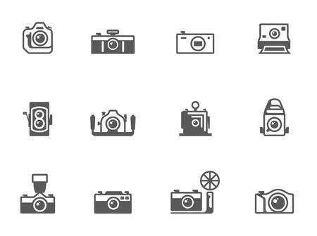 Icone macchina fotografica in bianco bianco EPS 10 Vettoriali