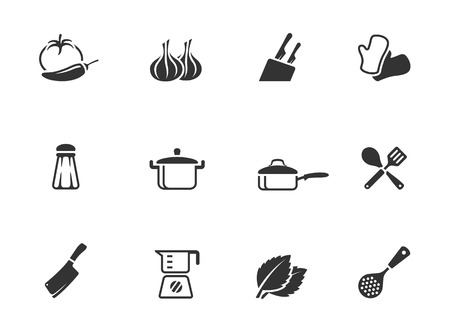 Cooking icons in single color  EPS 10