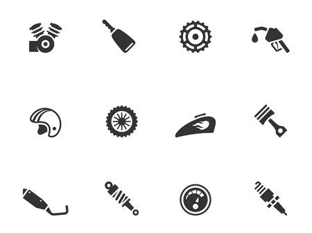 casco moto: Motocicletas: piezas iconos en un solo color EPS 10