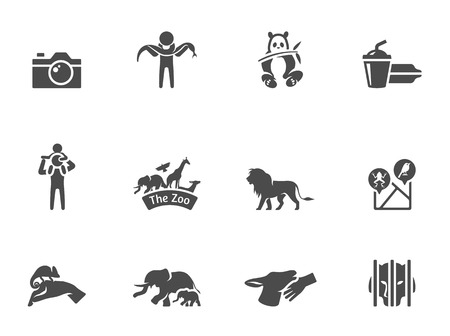 Zoo icons in black   white  EPS 10   Vector