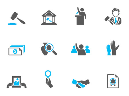 Auction icons in duo tone colors. EPS 10.