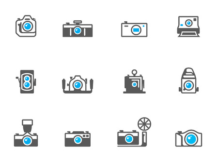 journalistic: Camera icons in duo tone colors. EPS 10.  Illustration