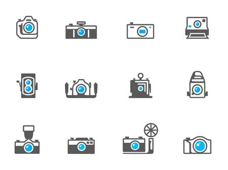 journalistic: Icone della fotocamera a colori tono duo. EPS 10. Vettoriali