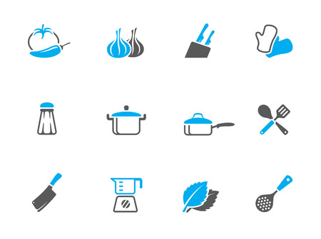 Cooking icons in duo tone colors. EPS 10.  向量圖像