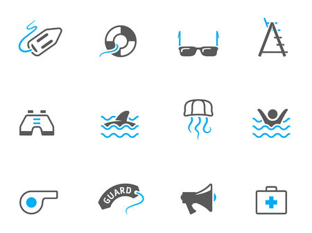 duo tone: Lifeguard icons in duo tone colors. EPS 10.
