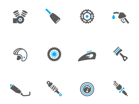 Motorcycle parts icons in duo tone colors. EPS 10.