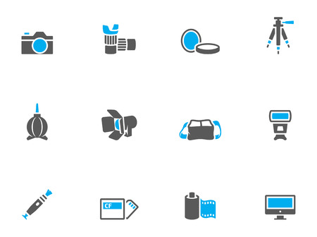 Photography icons in duo tone colors. EPS 10.  Vector