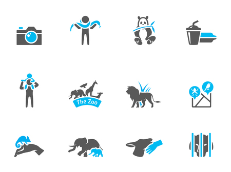 Zoo icons in duo tone colors. EPS 10.  Vector