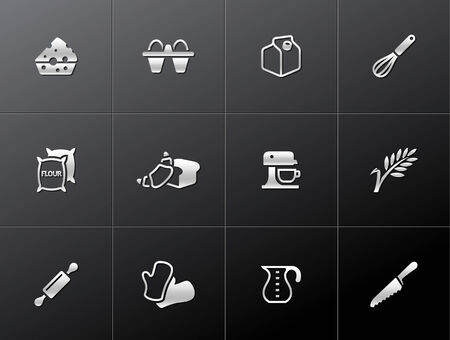 Baking icons in metallic style. EPS 10.  Vector