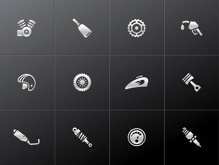 shock absorber: Motorcycle parts icons in metallic style. EPS 10.  Illustration