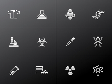 Science icons in metallic style. EPS 10.  Vector
