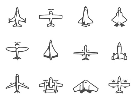 Airplane silhouette icons in black & white. EPS 10.  Illustration