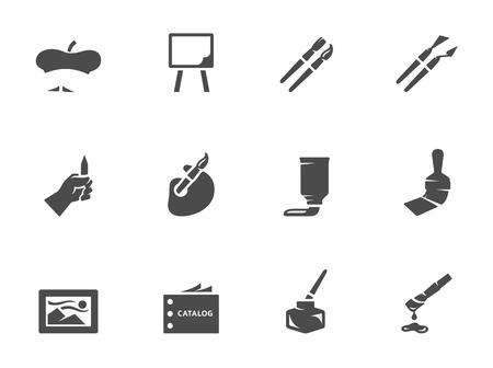 artes plasticas: Iconos del artista en blanco y negro. EPS 10.